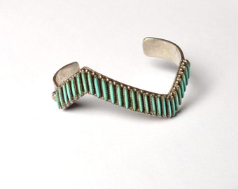 Zuni Lightning Bolt Needle Point Turquoise and Sterling Cuff Bracelet Beautifully Hand Crafted