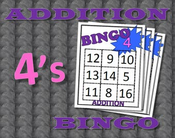 Math Facts Bingo: Addition 4's