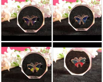Butterfly Mood Rings, Red, Blue, Yellow, Purple, Very Nice,Adjustable Size, a Free Gift With Purchase