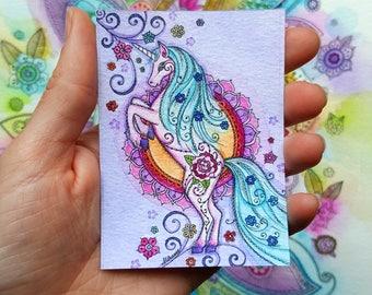 Mini Fairytale Unicorn Print - ACEO size