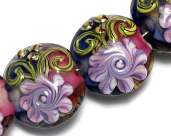 Four Grace's Garden Lentil Beads 10108312 - Handmade Glass Lampwork Bead Set