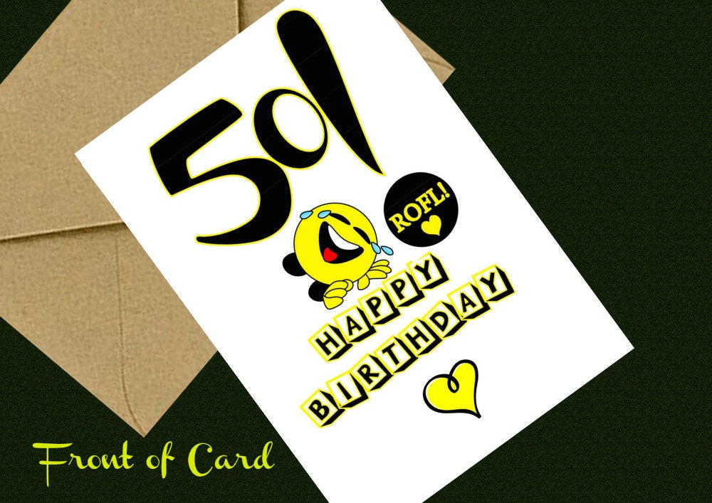 Downloadable 50th Birthday Greeting Card Digital