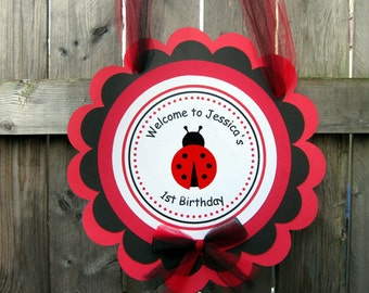 Ladybug Birthday Party Sign