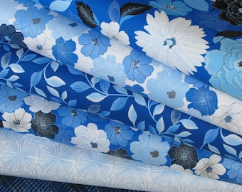 6 Floral Fabrics in Blue and White from Blue Brilliance Collection by Greta Lynn for Kanvas Fabrics, 100% Cotton Quilt Fabric Bundle