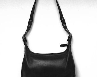 Vintage Coach 9059 Legacy Black Leather Hobo Bag - Small Shoulder Bag - Purse -Coach Handbag -Zip Bag -Silver Hardware-Made In United States