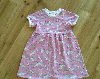 Pink dinasour dress, girls dino dress, pink geo dinasour dress, girly dinasour print dress, pink dino dress, girls love dinasours dress