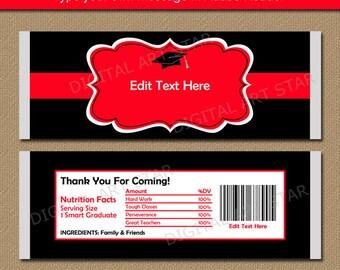 Graduation Candy Bar Wrapper, Graduation Party Favors, High School Graduation Party Idea, EDITABLE Graduation Chocolate Wrapper Red Black G1