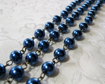 """One Meter 39.5"""" Peacock Blue Glass Pearl 8mm Beaded Rosary Link Chain Antique Bronze 985"""