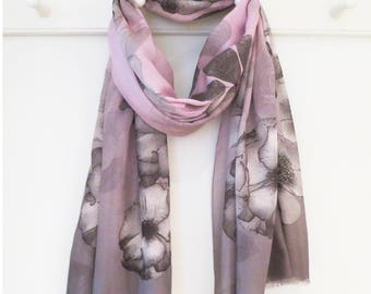 Soft Pink and Grey Floral Rose Print Luxury Scarf with Gift Wrap