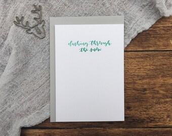 Dashing Through The Snow Green Christmas Letterpress Card. Christmas Card. Greeting Card. Letterpress. Grey Christmas Card. Simple Card.