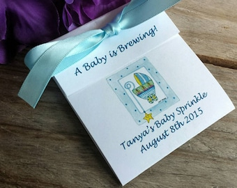 Personalized  Blue Baby Buggy Baby Shower Tea Bag Party Favors for a Baby Shower or Baby Sprinkle Boy or Girl
