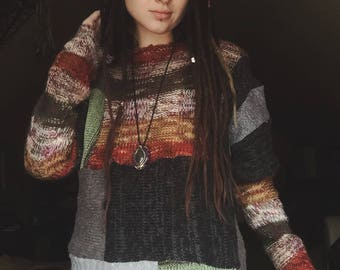 Colorful patch sweater