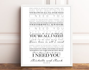 The beatles lyrics etsy song lyrics print song lyrics wedding gift our song couples gift the beatles 1st anniversary gift stopboris Images