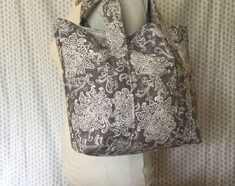 Grey and White Canvas Tote