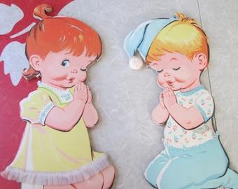 Nursery Wall Plaques Of Praying Girl and Boy