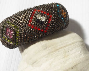 Bronze and rhinestone Vintage bracelet