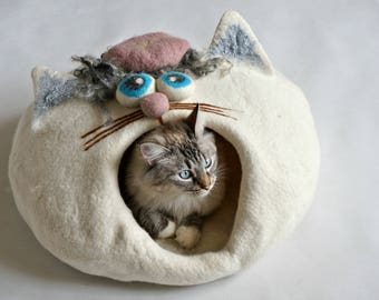 "Felt Cat Cave Unique Design Cat Bed - ""Mr.White"" by Indre Naujokiene"