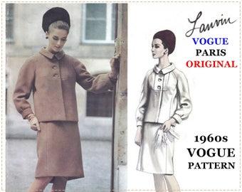 1960s Vogue Paris Original Pattern - Vogue 1454 - Lanvin - Misses' Suit, Button Bib Detail, Raglan Sleeve, Slim Skirt - Size 12 Bust 32