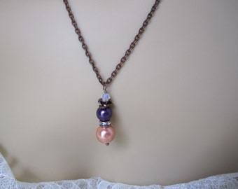 Rustic Bridesmaid Necklace Orange and Purple Pearl Necklace  Fall Wedding