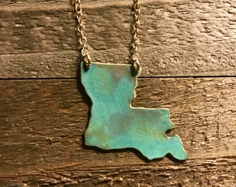 Louisiana Patina Necklace-new orleans,gift idea,christmas present, patina,something blue, wedding,bride,state jewelry