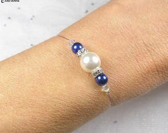 White wedding bracelet with blue rhinestones - Collection Romantica - Joseph/lilina bracelet - jewelry, wedding, bride, bridesmaid, wedding