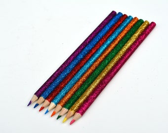 8 pcs Glitter Crayons - coloring crayons - pencils - coloring pencils - stocking stuffers - teen gifts - modern office gifts - glitter