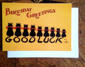 The Good Luck Cats.  Vintage Birthday Card Repro.
