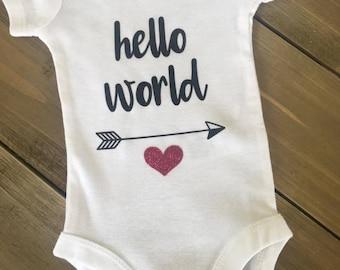Hello World   Baby Onesie   Bodysuit