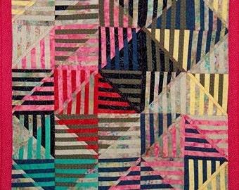 Colorful Strip Art Quilt