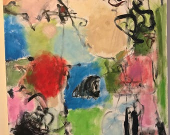 """Abstract Oil Painting Playful but Combative Blues Pinks Black Meaning """"Battlefield"""""""