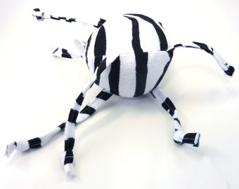 Soft Baby Toy - Small Ball with Sensory Strings - Zebra Stripes, Black and White