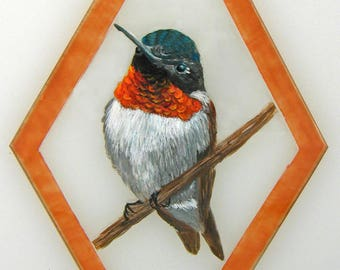 Hand Painted Glass Ornament - Ruby Throated Hummingbird