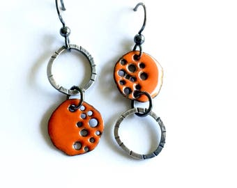 Enameled Silver Earrings Asymmetrical Orange Discs with Holes-hammered Rings-Organic Mismatched