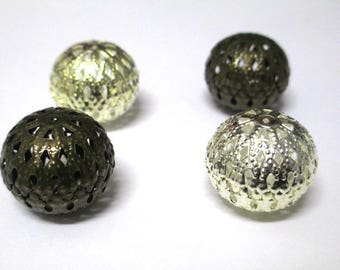 4 metal beads filigree 22x19mm color (2 bronze 2 light gold)