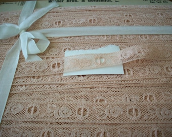 Vintage lace beading by the yard or roll tea and milk lace french 1940s  yardage pure cotton