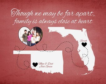 Gift for Family, Mom and Dad - Long Distance Family - Print, Photo on Maps, Moving Gift, Going Away, Daughter Gift, Son Gift