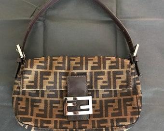 Fendi Brown Zucca Baguette Purse Bag | Vintage 90s designer small bag