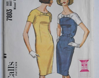Vintage 60s Yoked Panel Dress, Slim Fitted Sheath Sewing Pattern McCalls 7803 Size 18 Bust 38 UNCUT