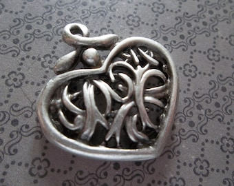 Asian Influence Silver Heart Pendant or Charm - Ethnic Style - Oxidized & Antiqued Silver Sterling Plated Pewter - Qty 1