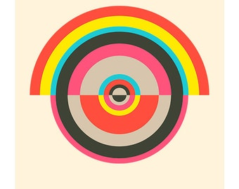 Around in Circles No. 5, Original Art Print, Geometric, Abstract, Target