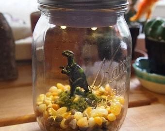Mason Jar Dinosaur Light: T-Rex (Black)