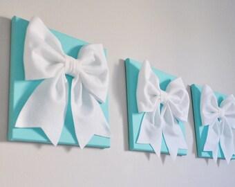 "Aqua Blue Home Decor  -SET OF THREE White Bows on Bright Aqua Solid 12 x12"" Canvas Wall Art- Home Decor"