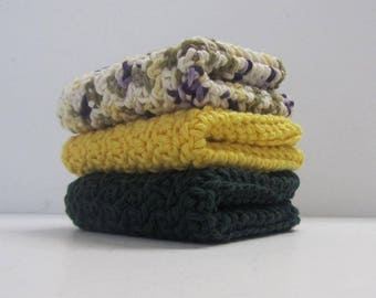 Cotton Washcloths Dishcloths 3 Set-Ready to Ship-
