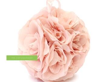 Blush Pink Flower Ball | Rose Pink Kissing Ball | Blush Pomander | Blush Pink Wedding Centerpiece and Decoration