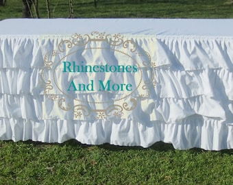 Ruffled White French Style Tablecloth