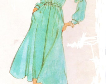 1970s Jerry Silverman Womens Shirtdress Vogue Sewing Pattern 1829 Size 10 Bust 32 1/2 Uncut Boho Dress Patterns American Designer