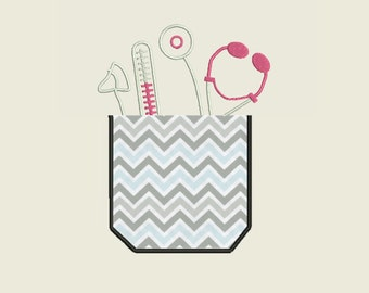 Nurse or Doctor Pocket with Instruments Embroidery file in 3 Sizes and Multiple formats - INSTANT DOWNLOAD - Item # 2041