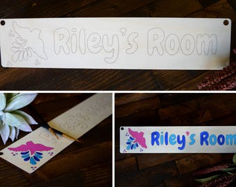 Personalized Room Sign, Name Sign, DIY Kids Project, Door Plaque, Playroom, Baby Nursery, Custom, Door Hanging Sign, Kids Room, Boy or Girl
