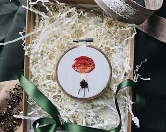 "Embroidery Hoop Art, ""Amanita Muscaria"""