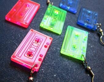 Retro Tape Cassette Earrings, 80s Neon Pink, Green & Blue Dangle Tape Earrings